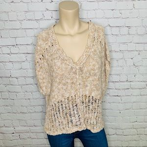 FREE PEOPLE Cropped Short Sleeve Sweater Knit Top